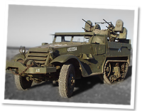 Whites M16 half track, anti aircraft variant half track, with a maxim turret with power traverse and elevation mounting 4 .50cal machine guns.